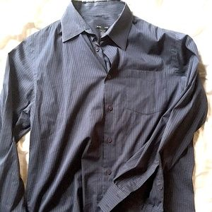 Dark Blue with Light Blue Pinstripes Button-Up